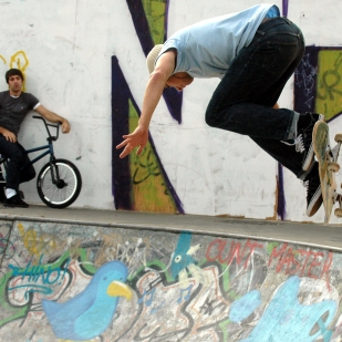 BMXers and skaters in Sheffield.