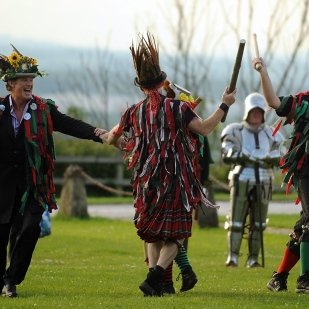 David Hasselhoff joined the Fox Border Morris Group for a dance during a visit to Tutbury Castle where he was recording a reality television show.