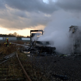 A lorry and container fire at Hilton Business Park.
