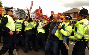 Protestors are arrested at a demo against the BNP Festival in Codnor.