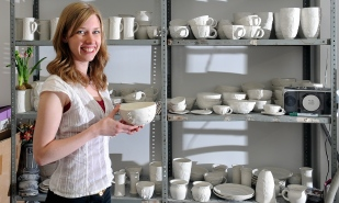Ceramist Clare Gage, at her studio in Chesterfield.