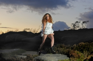 Leah McLaren modelling clothes and boots from New Look.