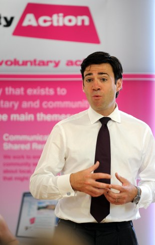 Shadow Health Secretary Andy Burnham at Derby YMCA.