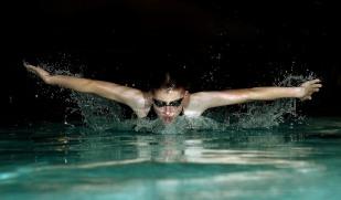 Ryan Cendrowski doing a sponsored swim.