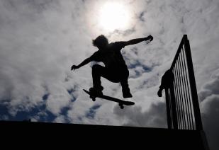 A skateboarder in Derbyshire.