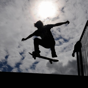 A skateboarder in Derbyshire.