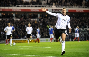 Robbie Savage celebrates his goal against Portsmouth.